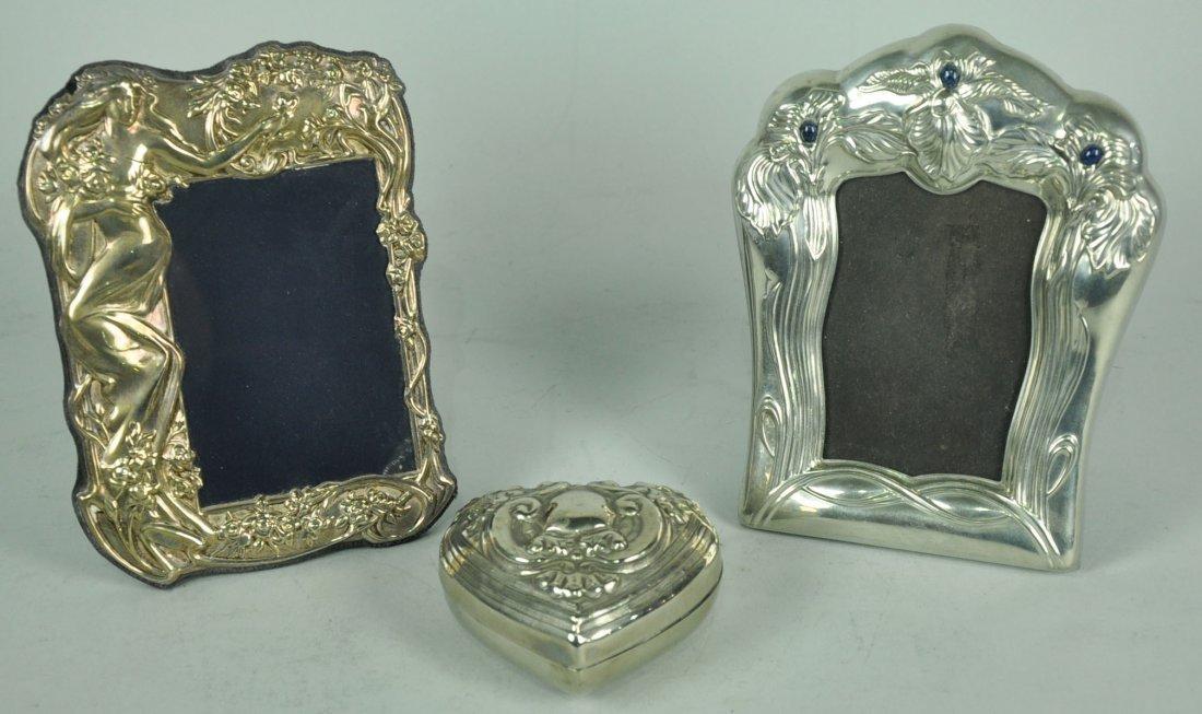 Two Silver Plate Art Nouveau Style Frames