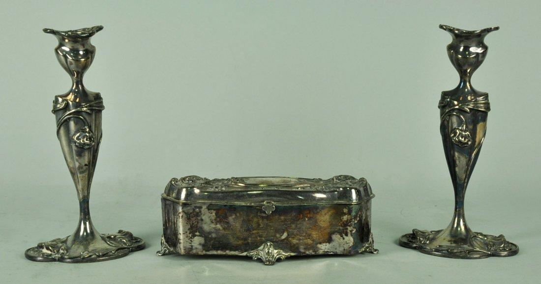 Three Pieces of Art Nouveau Quadruple Plate Silver