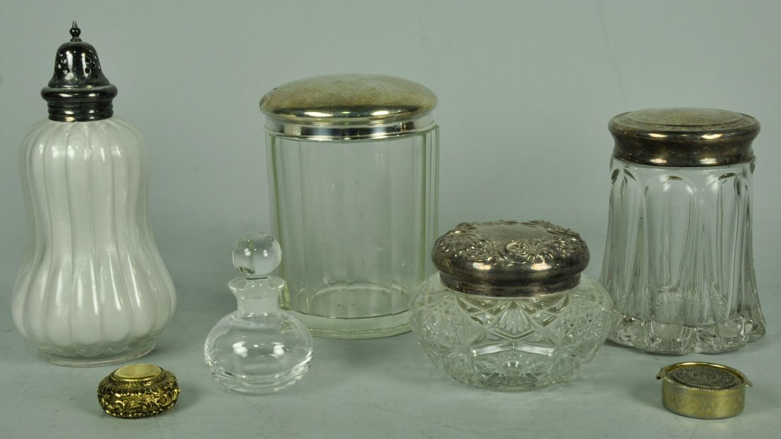 Seven Silver Plate Top Dresser Containers