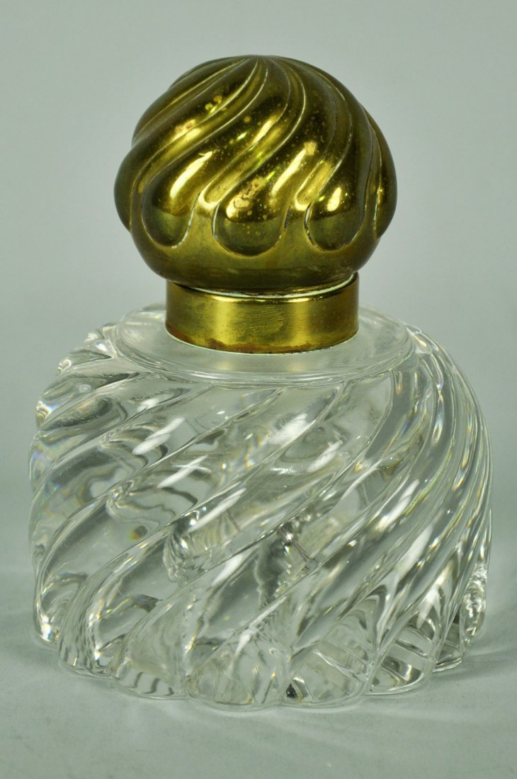 Lead Crystal Inkwell with Brass Top