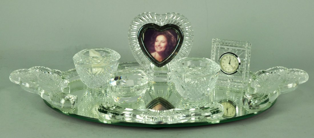Mirrored Dresser Tray with Five Pressed Glass Items