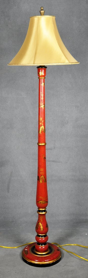 Oriental Style Floor Lamp with Painted Decoration