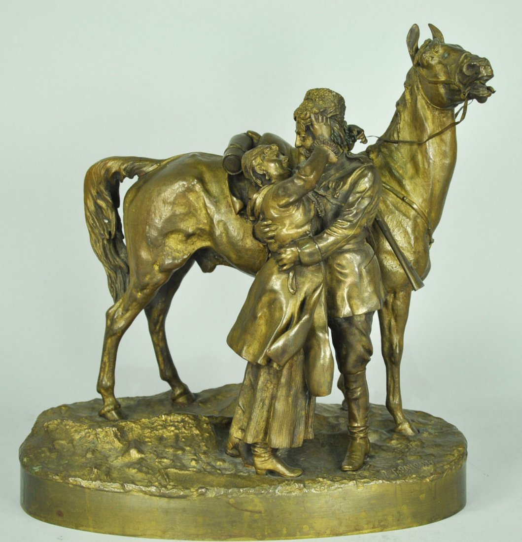 Russian Bronze Military Officer and Lady with Stallion