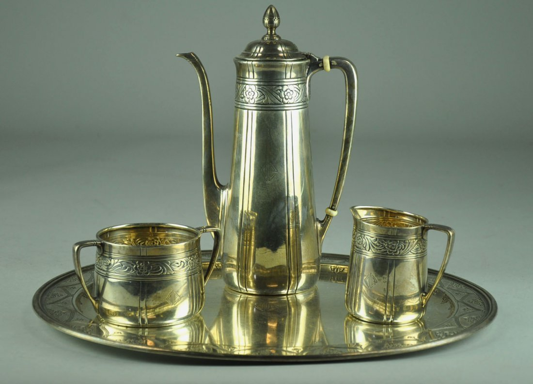 Four Piece Sterling Silver Tiffany Chocolate Service