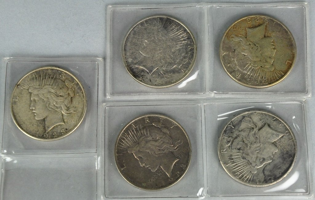 Five Circulated Peace Dollars