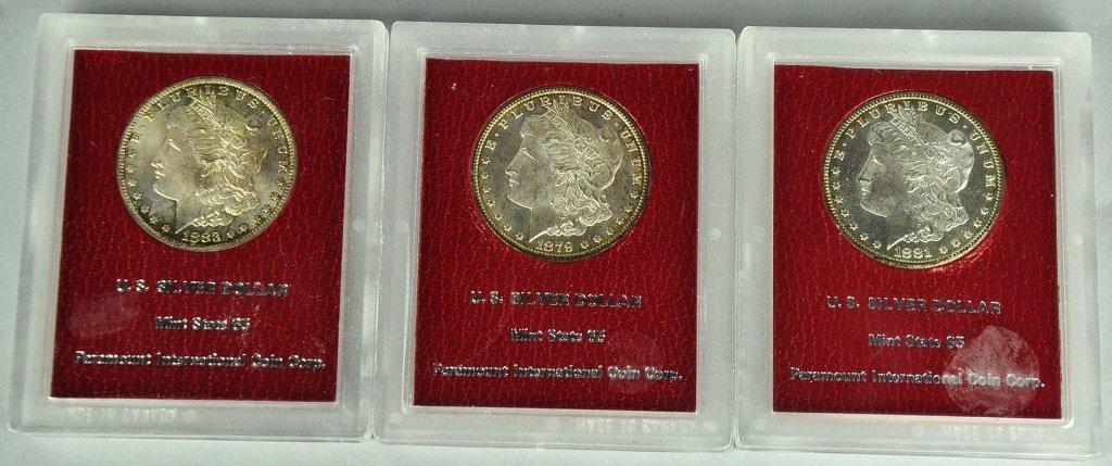 Three Uncirculated Morgan Dollars