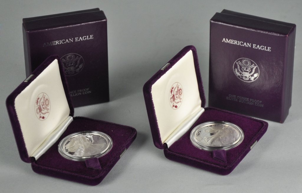 Two 1986 Proof Silver Eagle $1.00 Coins