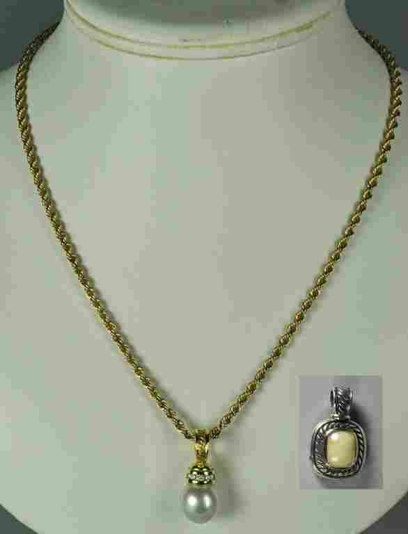 David Yurman Pearl & Diamond Pendant Necklace