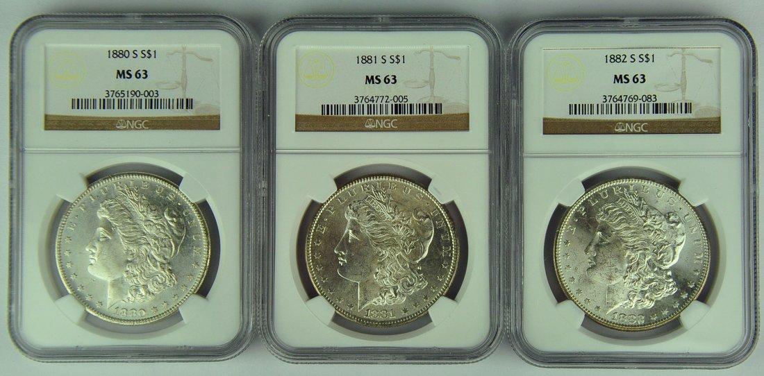 1880-S, 1881-S & 1882-S Morgan Dollars