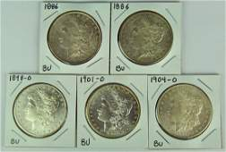 Five BU Morgan Dollars