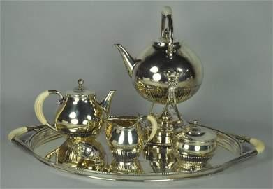 "Georg Jensen ""Cosmos"" Sterling Tea Service"