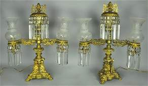 Pair Spun & Cast Brass French Lamps