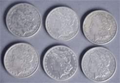 6 Morgan Dollars