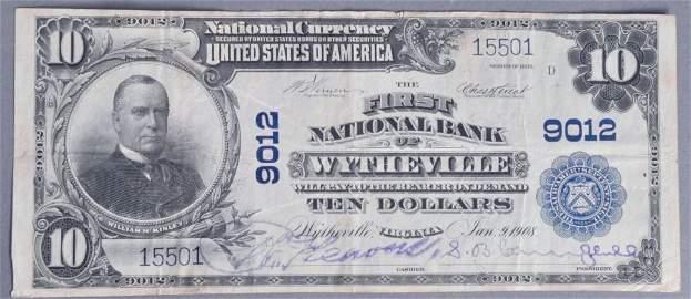 Rare Series 1902 Wytheville, VA $10 Note