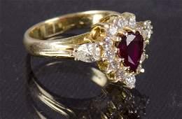 Ladies 18K Gold Ruby  Diamond Ring