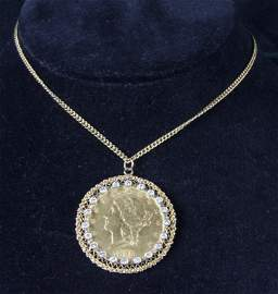 Mounted Coin Pendant