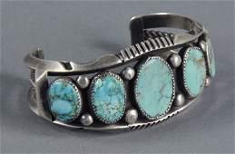 Navajo Heavy Silver & Turquoise Cuff Bracelet