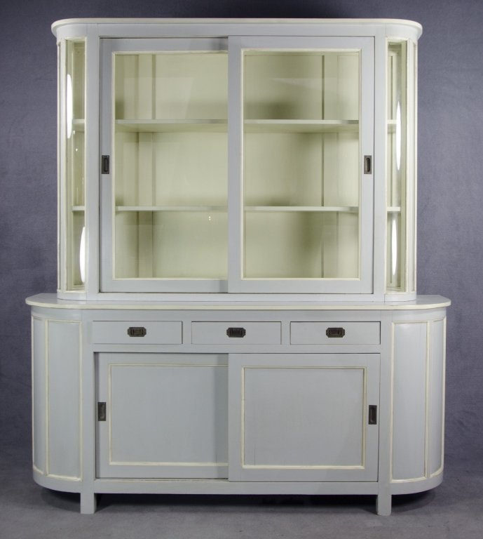 Dove Grey Contemporary Breakfront China Cabinet