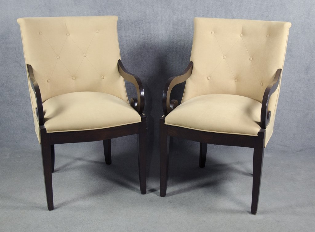 Contemporary Classical Open Arm Chairs