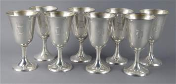 Eight Sterling Water Goblets
