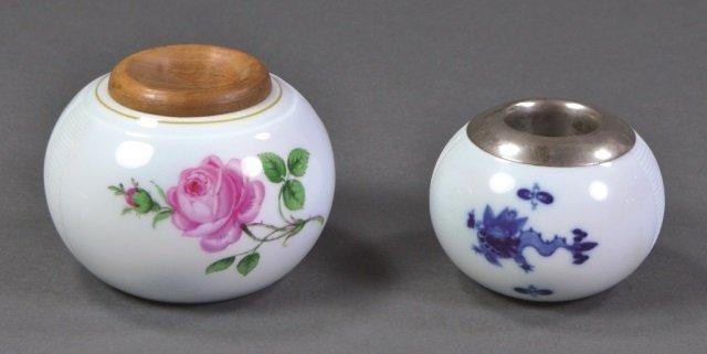 Two Meissen Porcelain Match Strikers
