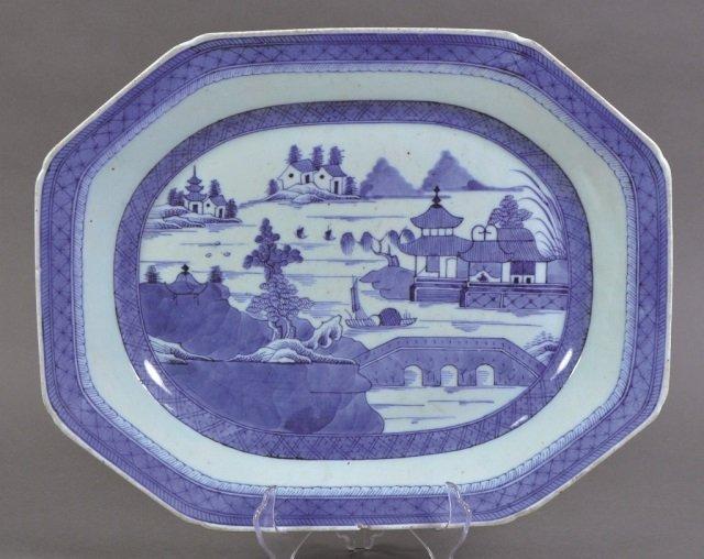 Large Blue & White Canton Platter