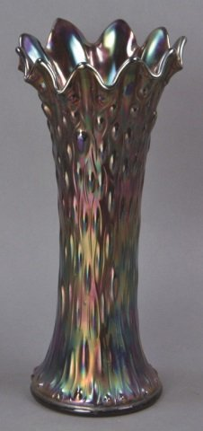 "Vintage Carnival Glass ""Tree Trunk"" Vase"