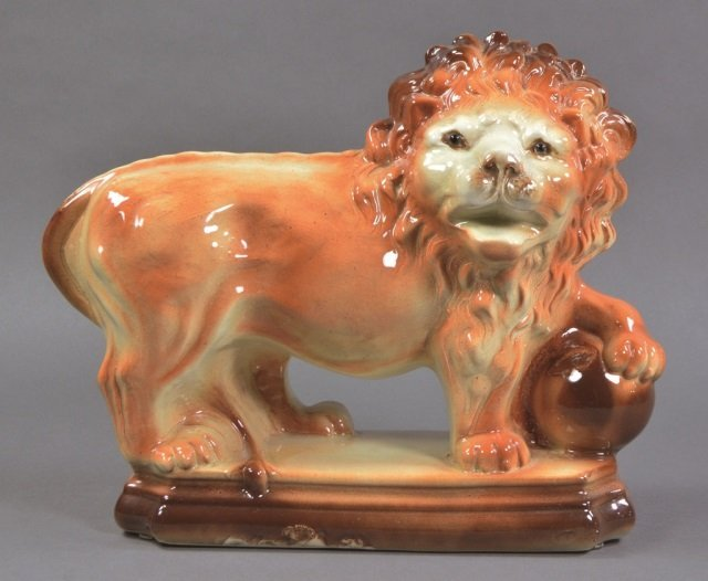 Staffordshire Style Lion with Glass Eyes