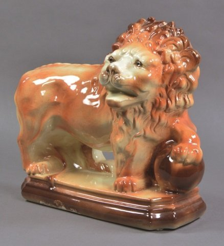 Staffordshire Style Lion with Glass Eyes - 3
