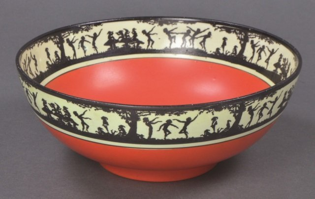 Porcelain Bowl with Silhouette Pattern Rim