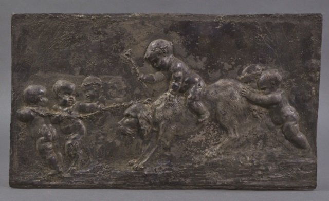 19th Clodion French Spelter Plaque