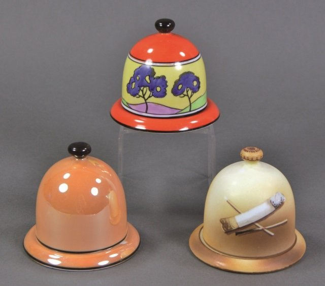 Three Lidded Porcelain Match Strikers