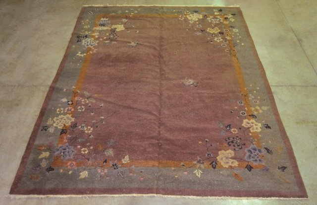 Wool on Cotton Antique Chinese Rug