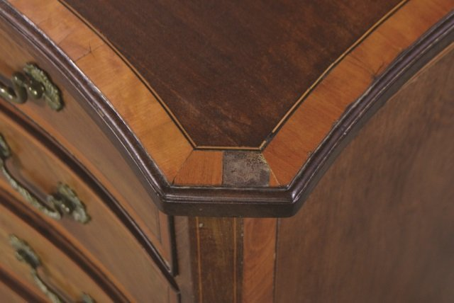 English Mahogany Serpentine Front Chest - 4