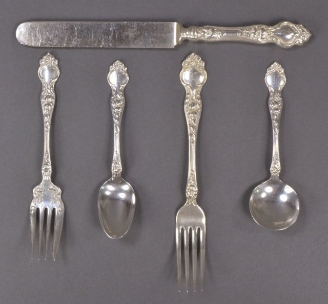 "Set of Wallace Sterling ""Violet"" Flatware - 2"