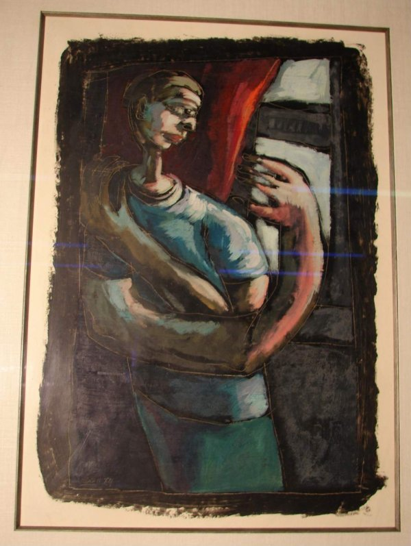Mary Jennifer Booth - Figure at Window in Blue Abstract