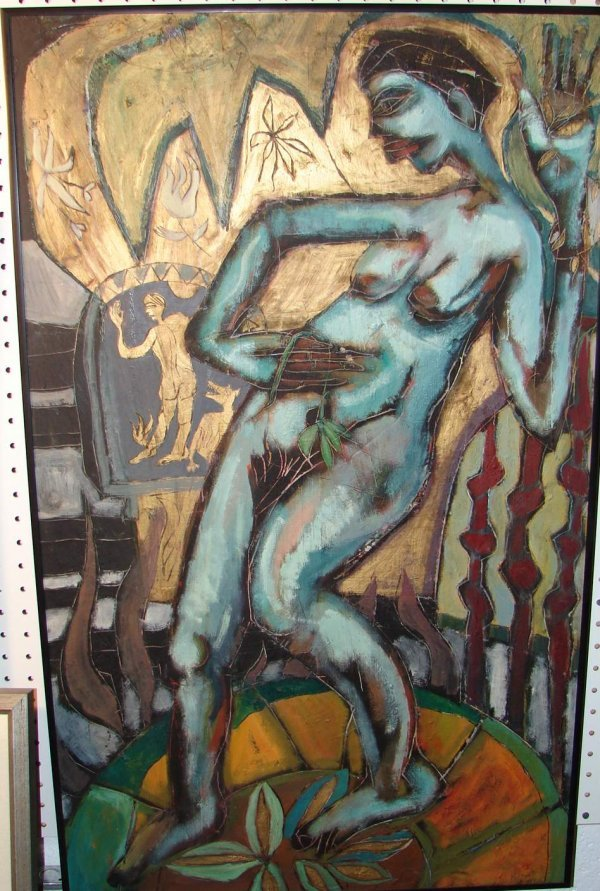 "Mary Jennifer Booth ""The Blue Nude"" Post Modern Oil"