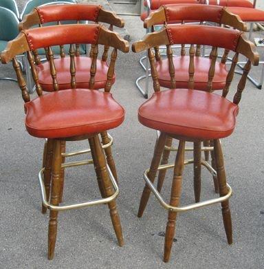 532: Authentic Orange Bowl Burgundy Bar Stools