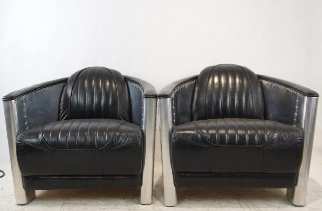 Pair of Modern Aviator pilots Club Chairs