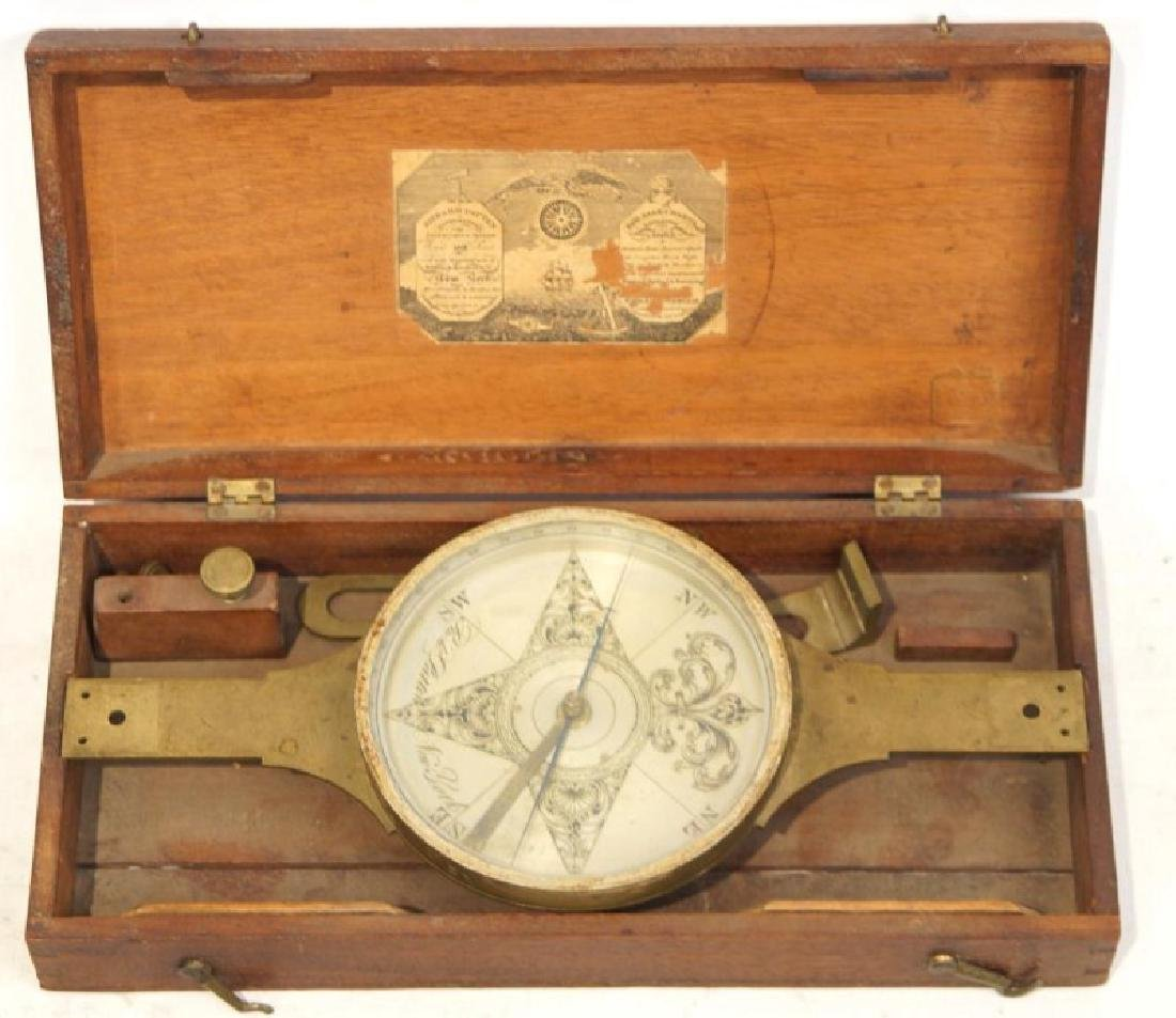 Antique Brass Cased Ships Compass- New York
