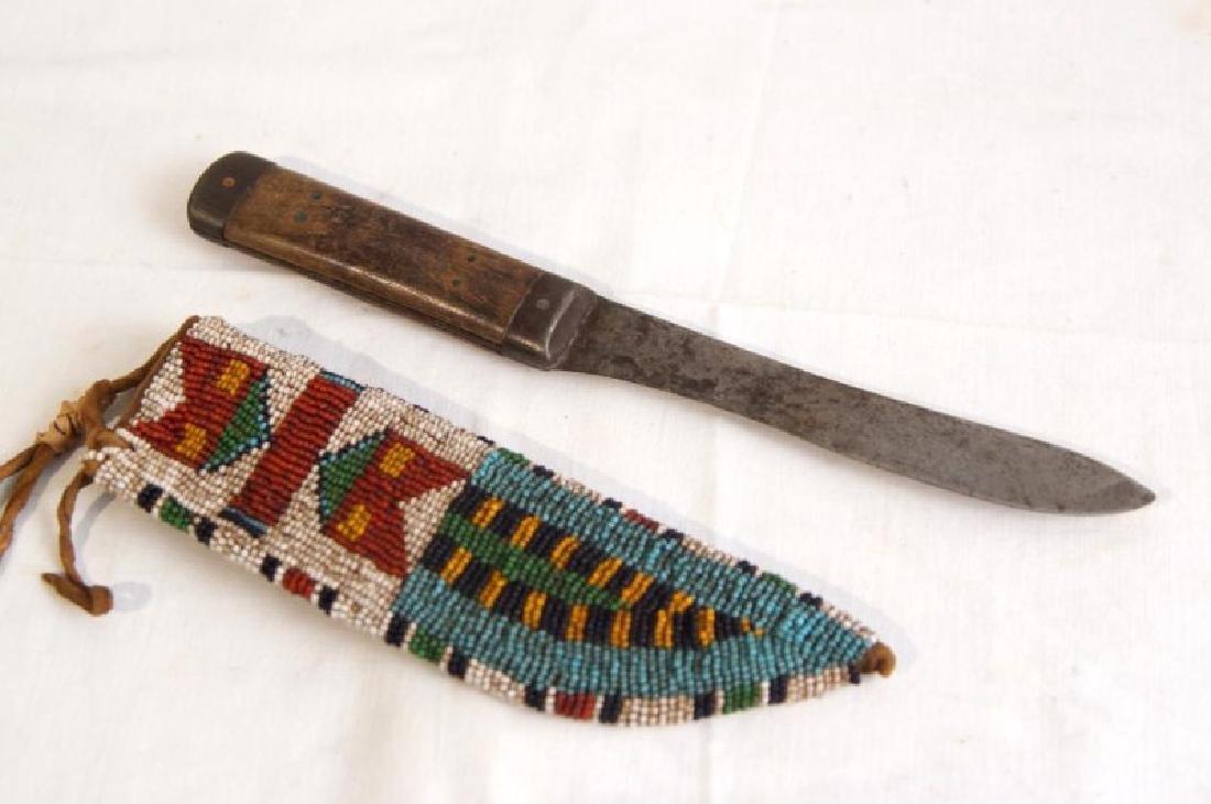 Old Plains Indian beaded Knife Sheath & Knife