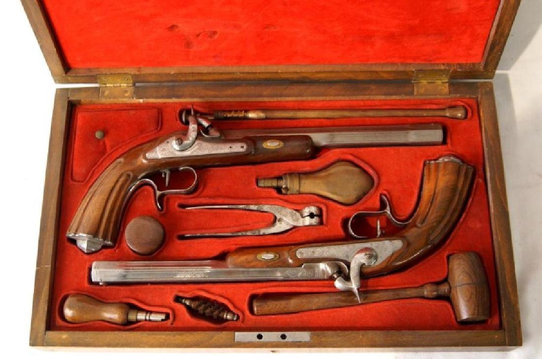 Dueling guns and accessories in oak box - 2
