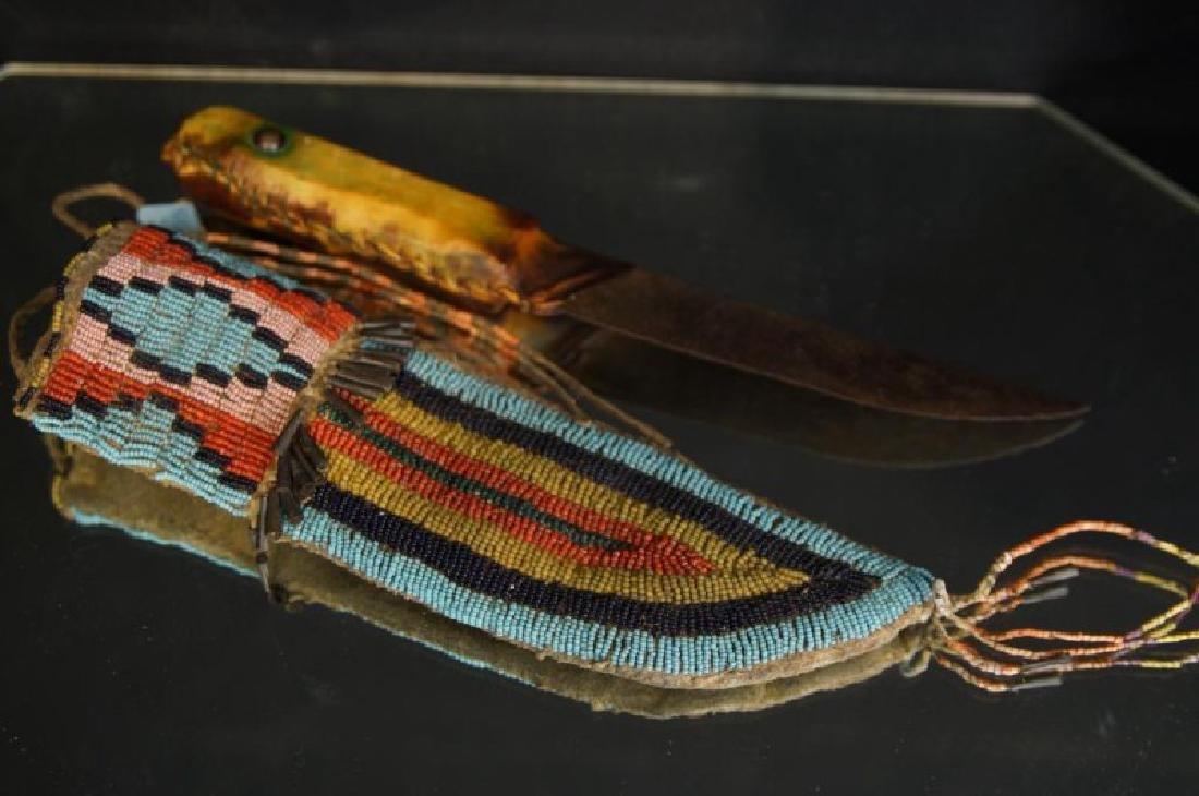 Native American Beaded knife sheath - 7