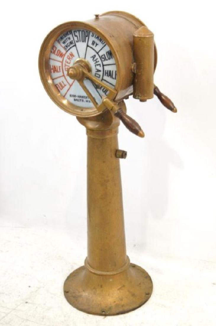 Antique Ship's telegraph with stand - 3