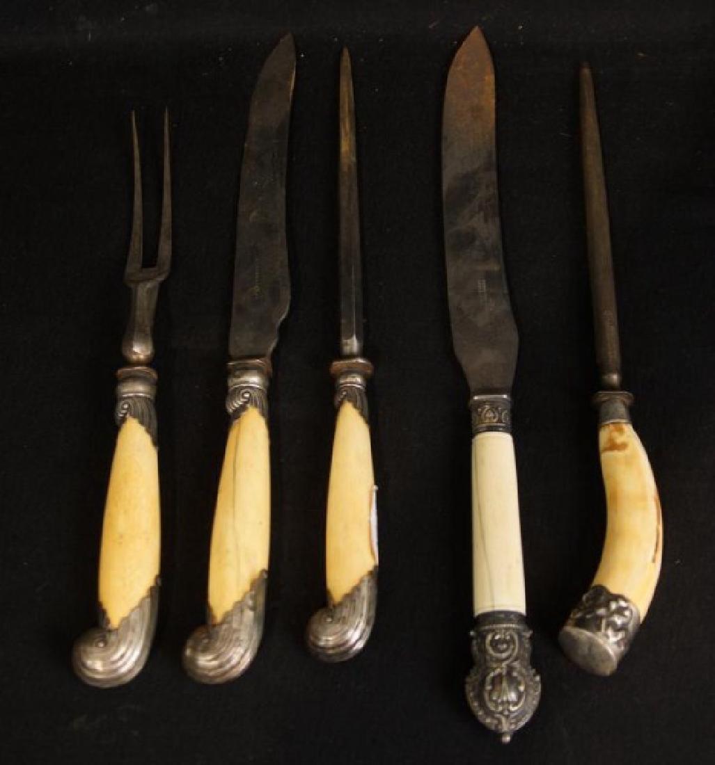 Fancy Antique English silver & bone Carving Sets