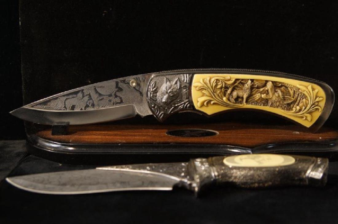 2 Large engraved knives - 2