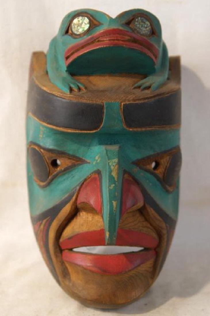 Kwakiutl Wood Carved Eagle Mask with frog