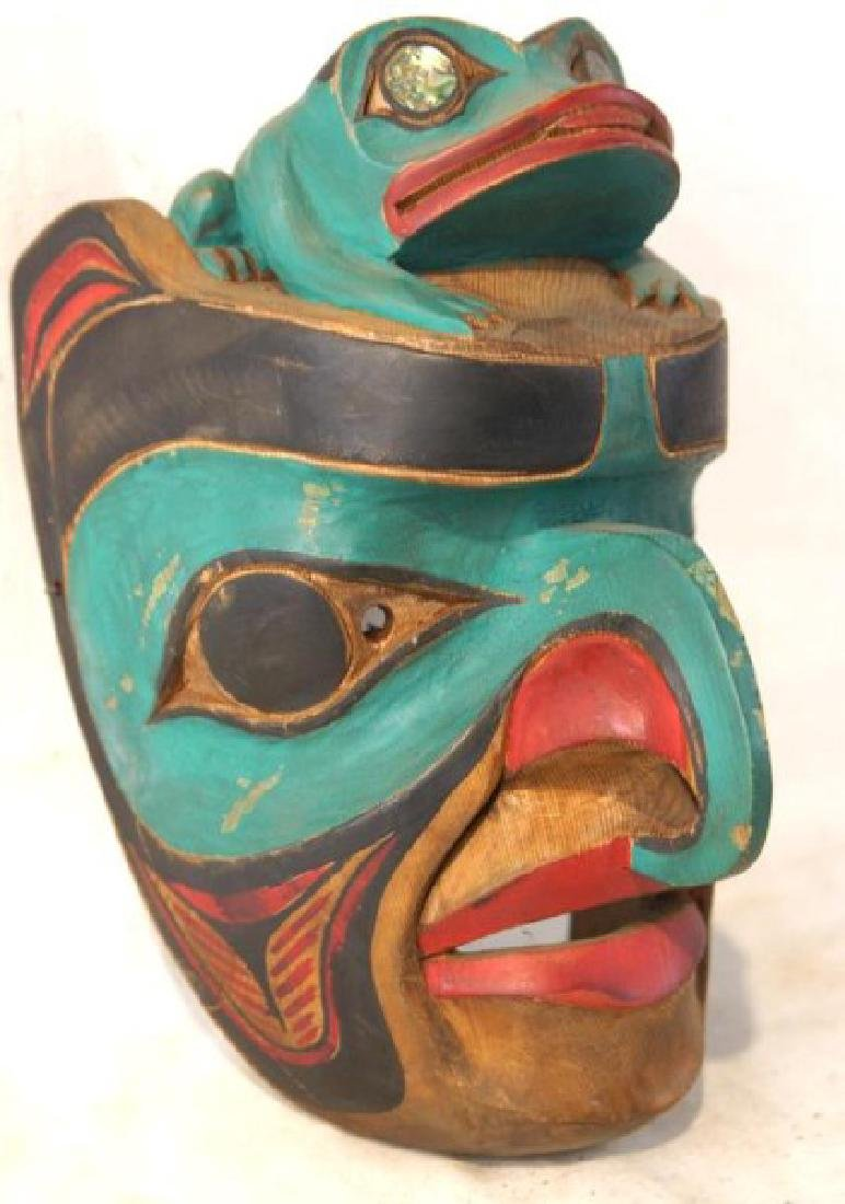 Kwakiutl Wood Carved Eagle Mask with frog - 2