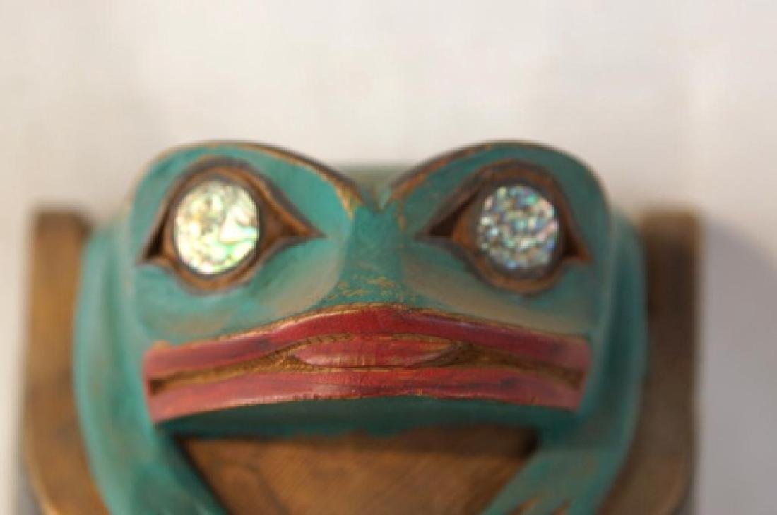 Kwakiutl Wood Carved Eagle Mask with frog - 3