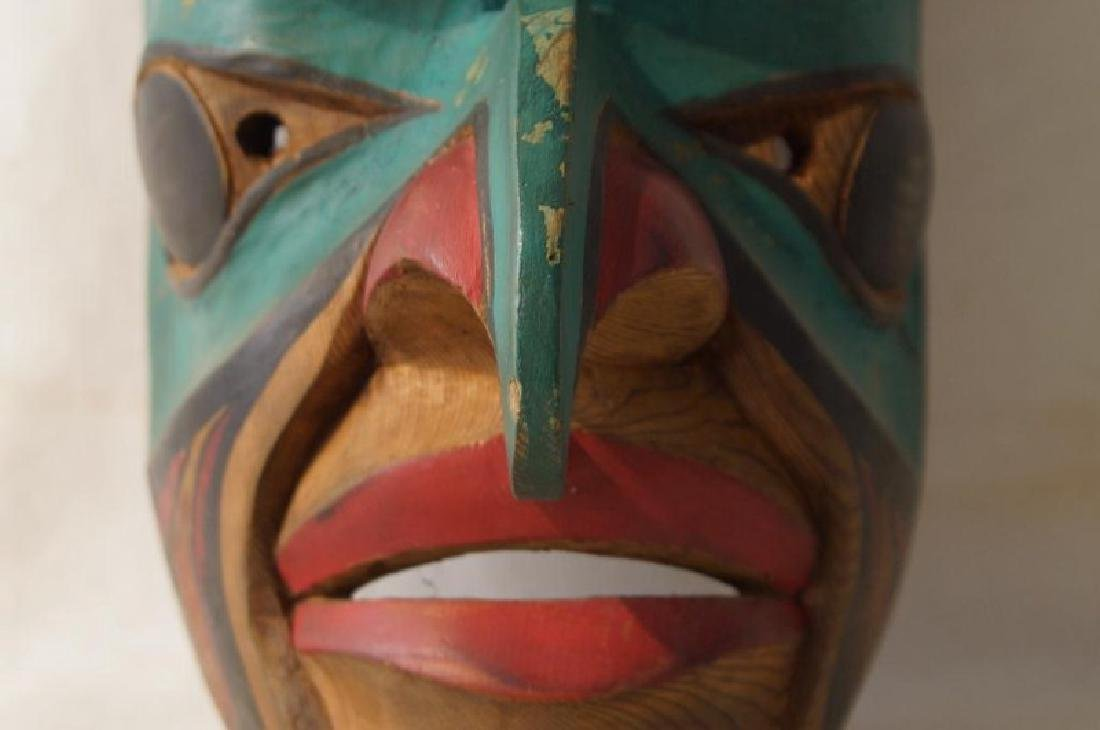 Kwakiutl Wood Carved Eagle Mask with frog - 5